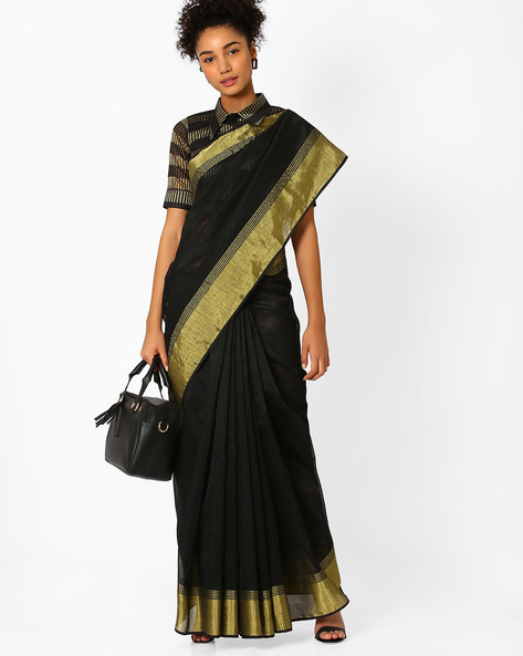 Saree With Contrast Zari Border By Amori ( Black )
