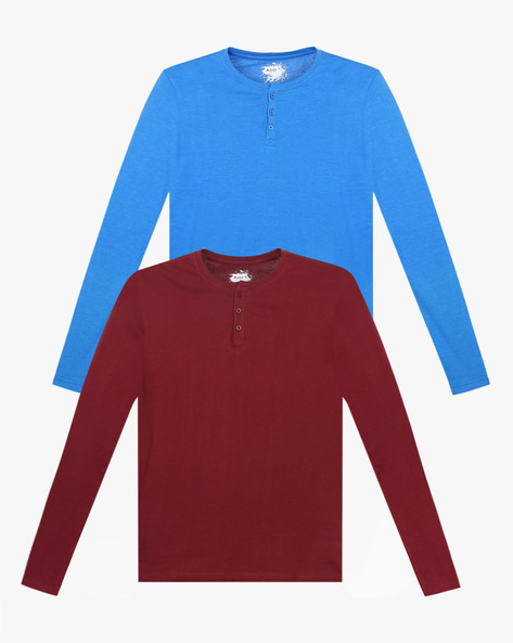 Pack Of 2 Cotton Henley T-shirts By AJIO ( Multicolor ) - 460025682002