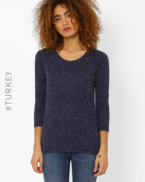 Heathered Crew-Neck T-shirt By Cross Jeans ( Navyblue )