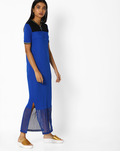 T-shirt Dress With Mesh Panel By AJIO ( Blue )