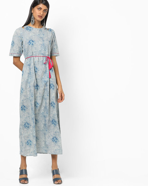 Printed Maxi Dress With Waist Tie-Up By Desi Fusion ( Blue )