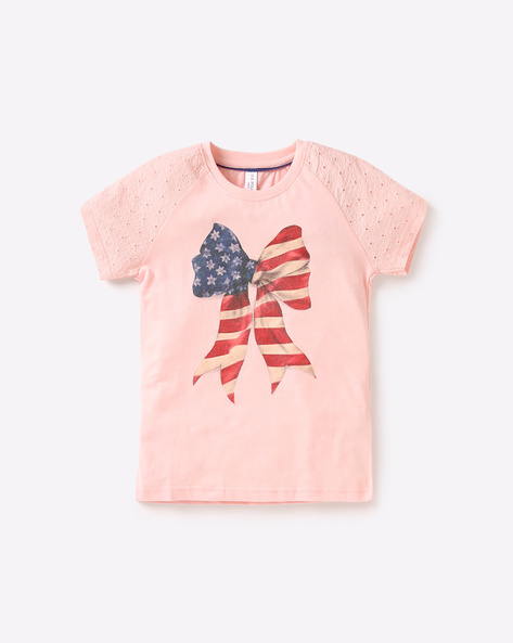 Graphic Print T-shirt With Raglan Sleeves By USPA ( Ltpink )