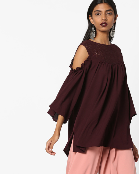 Cold-Shoulder Tunic With Crochet Yoke By AJIO ( Wine )