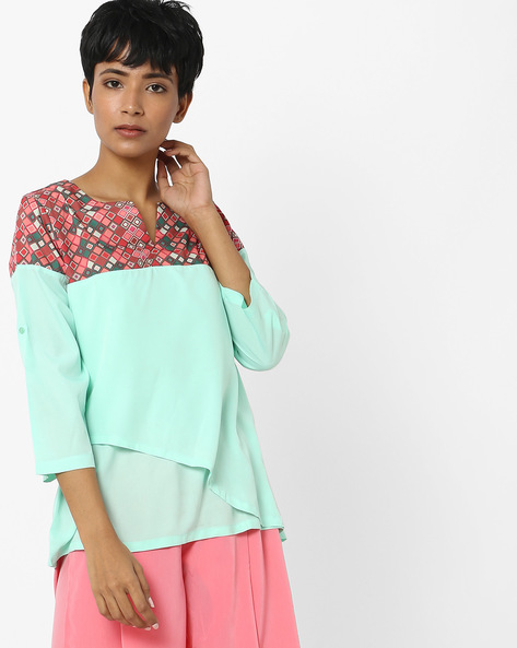 Layered Top With Geometric Print Yoke By Indusdiva ( Green )