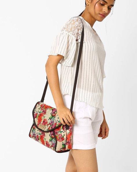 Floral Print Sling Bag By AJIO ( Beige )