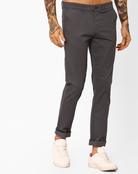 Slim Fit Flat-Front Trousers By Pepe Jeans ( Grey )