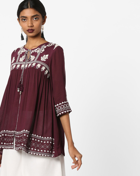 Printed Tunic With Embroidery By W ( Purple )