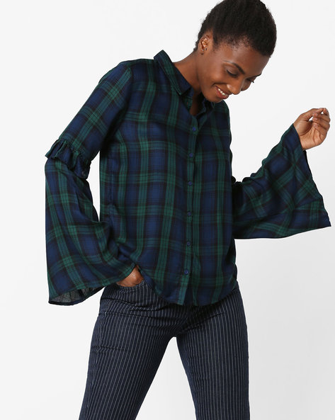 Checked Shirt With Bell Sleeves By Only ( Pink )
