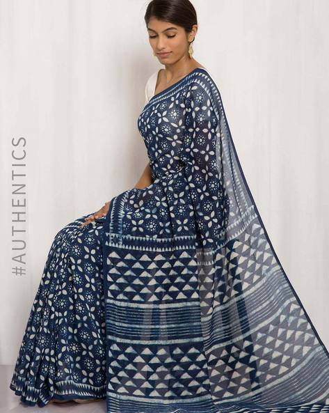 Hand Block Print Chanderi Saree By Indie Picks ( Multi )