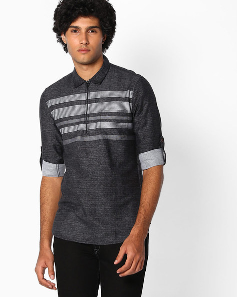 Cotton Slim Fit Shirt By The Indian Garage Co ( Blackwhite )