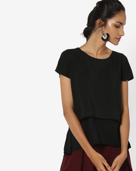 Layered Top With Extended Sleeves By UNITED COLORS OF BENETTON ( Black )