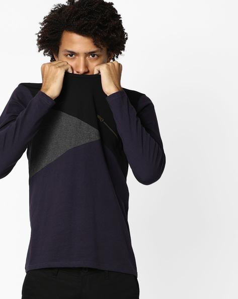 Colourblock Slim T-shirt With Mock Zipper By AJIO ( Navy )