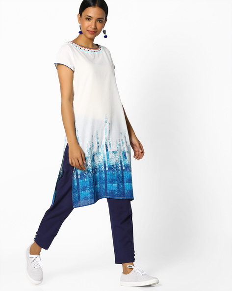 Straight Kurta With Printed Panel By Melange By Lifestyle ( White )