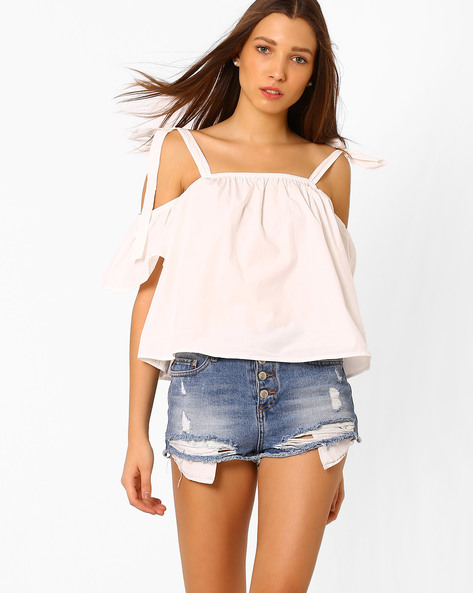 Cold-Shoulder Top With Tie-Up Sleeves By Vero Moda ( White )