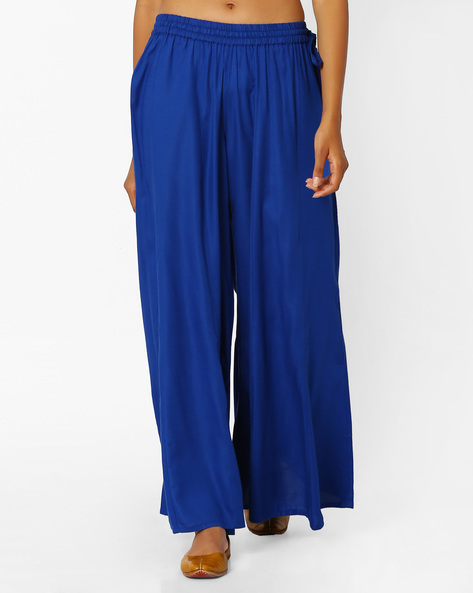 Palazzo Pants With Tassel Tie-Up By Khimsariya ( Blue )