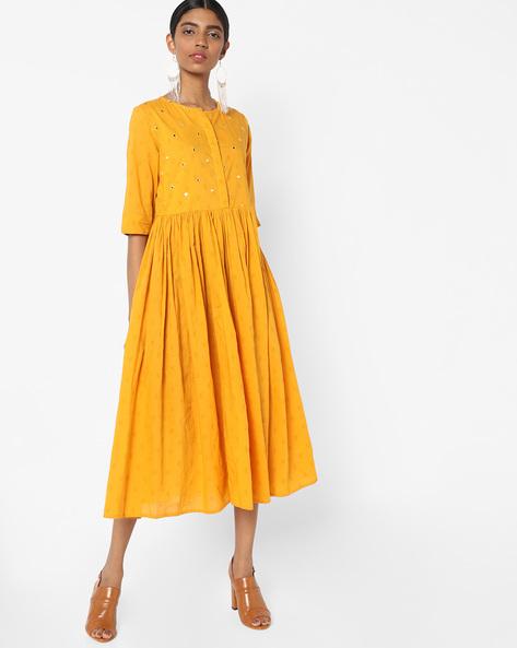 Flared Midi Dress By AJIO ( Mustard )
