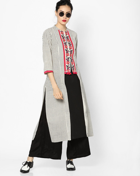 Checked Kurta With Embroidery By Rangmanch By Pantaloons ( Black )