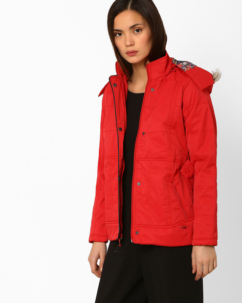 Front-Zip Jacket With Printed Fur Hood By MONTE CARLO ( Red )