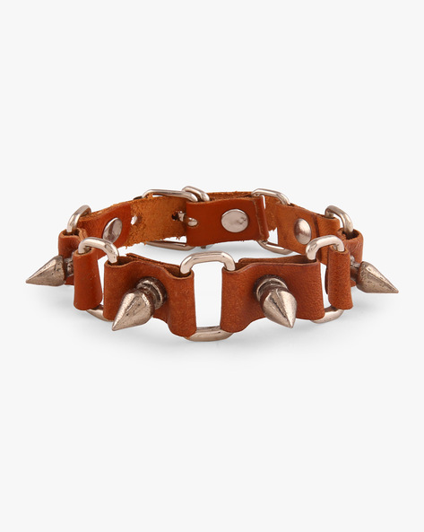 Faux Leather Bracelet With Metallic Spikes By ALPHA MAN ( Multicolor )