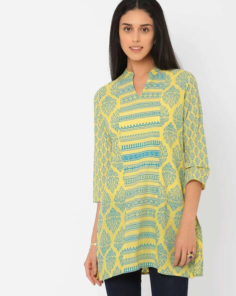 Printed Tunic With Mandarin Collar By AJIO ( Yellow )