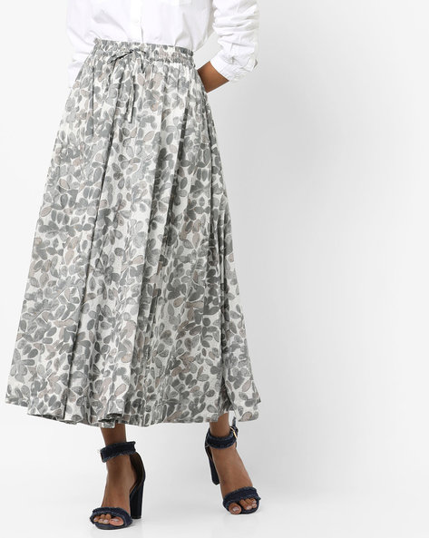 Printed Flared Skirt By Project Eve IW Casual ( Grey )