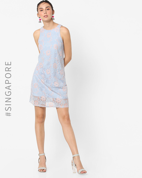 Sleeveless Lace Shift Dress By MDS ( Multi )