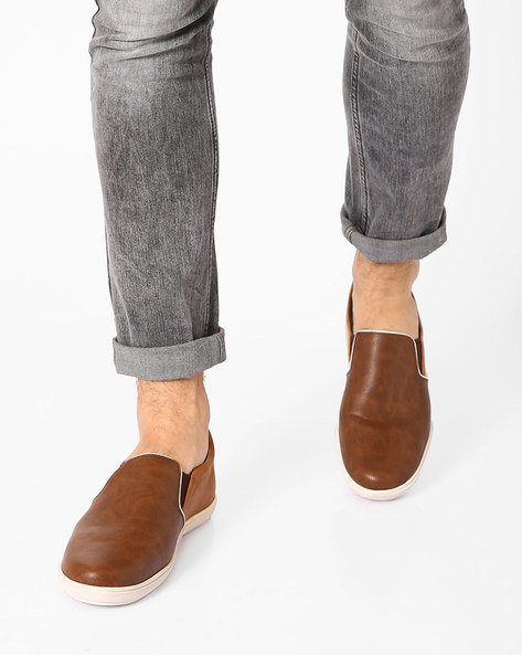 Faux-Leather Casual Slip-ons By USPA ( Drkbrn )