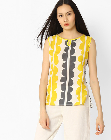 Printed Cotton Top By Jaipur Kurti ( White )