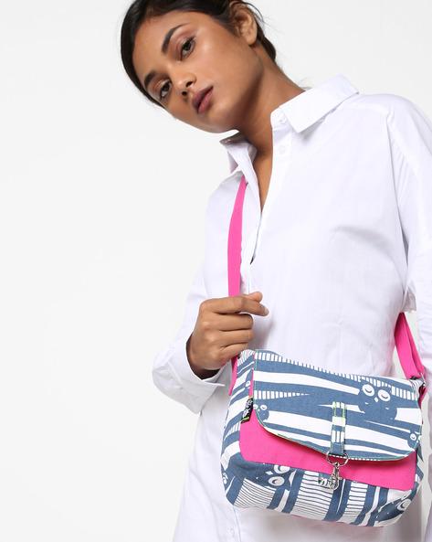 Printed Canvas Sling Bag By Kanvas Katha ( Pink )