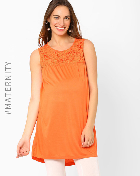 Crochet Panelled Maternity Top By AJIO ( Fuchsia )