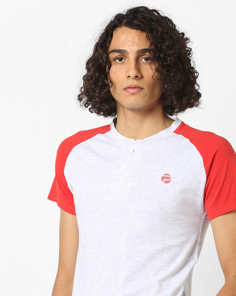 Heathered Slim Fit Henley T-shirt By Pepe Jeans ( Red )