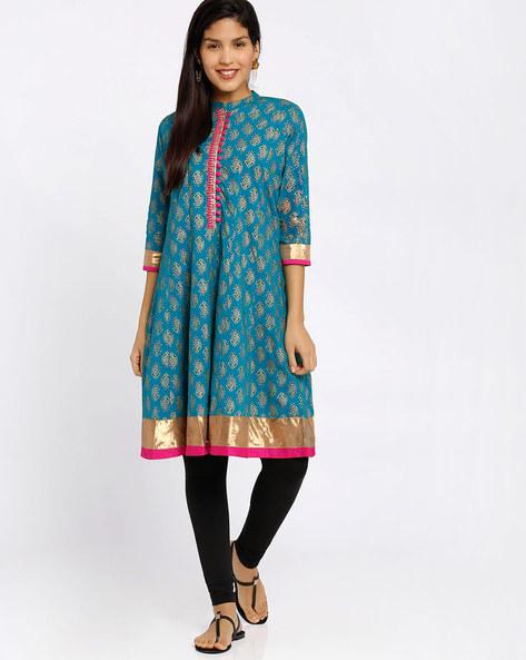 Printed Anarkali Kurta By Rangmanch By Pantaloons ( Turquoise )
