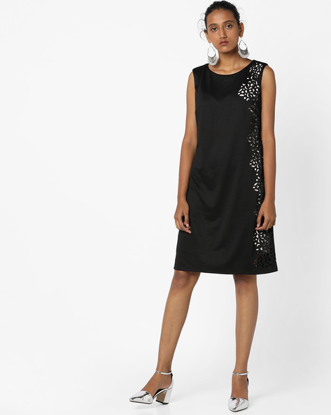 Sleeveless Shift Dress With Cut-Outs By Avirate ( Black )