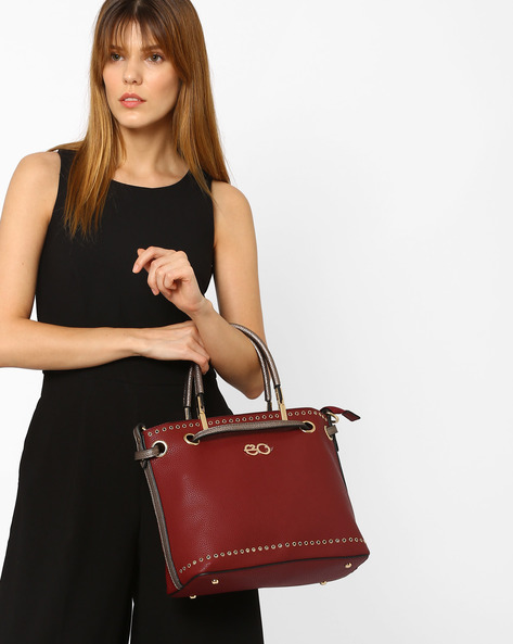 Satchel With Bag In Bag Detail By E2O ( Maroon )