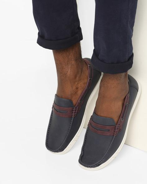 Textured Slip-On Casual Shoes By Spunk ( Navy )