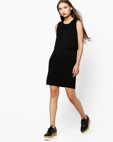 Sleeveless Knitted Popover Dress By AJIO ( Black )