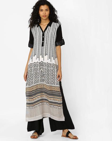 Printed Kurta With Roll-Up Tabs By Global Desi ( White )