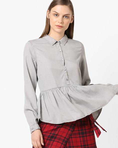 Peplum Top With Shirt Collar By Project Eve WW Denim ( Grey )