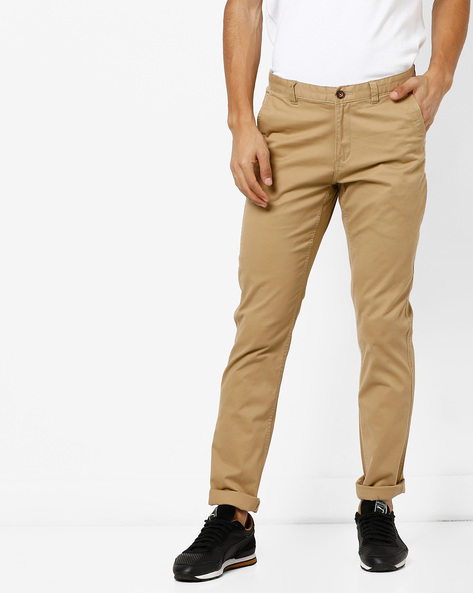 Mid-Rise Flat-Front Chinos By NETPLAY ( Khaki )