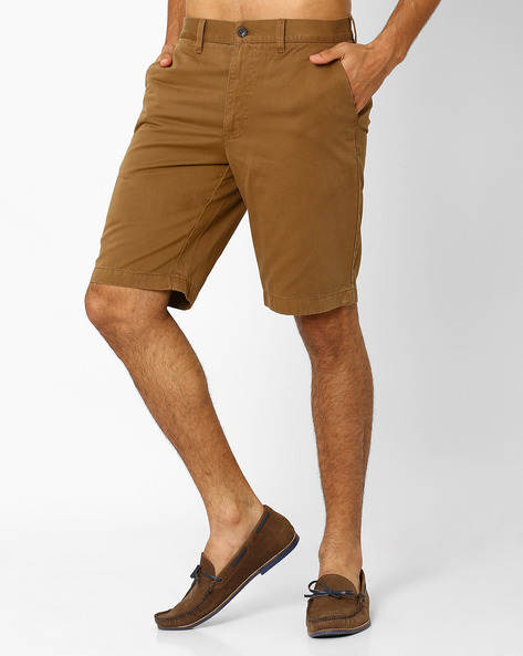 Low-Rise Cotton Regular Fit Shorts By INDIAN TERRAIN ( Brown )