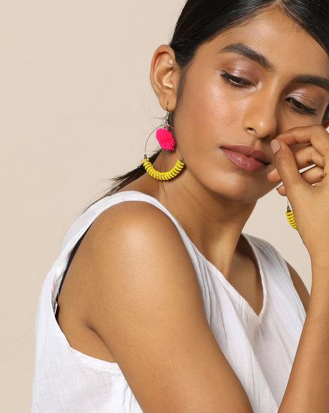 Beaded Dangler Earrings With Pom-Pom By Indie Picks ( Yellow )