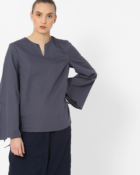 Kimono Sleeve Top With Notched Neckline By Vero Moda ( Fuschiablue )