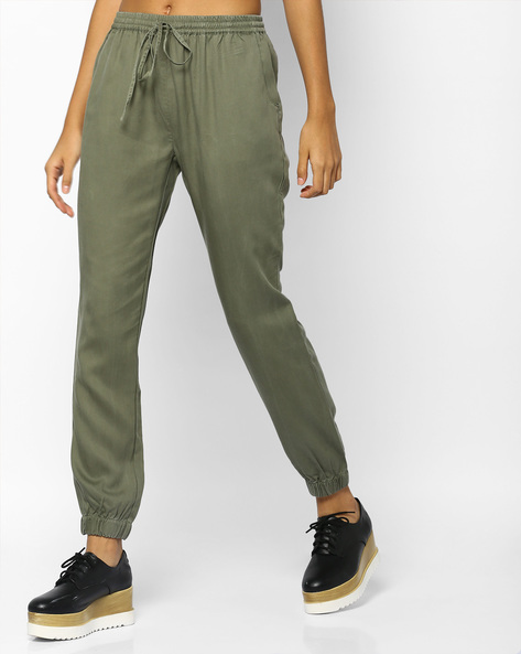 Jogger Pants With Drawstring Fastening By Project Eve WW Athleisure ( Olive )