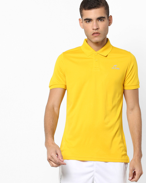 Polo T-shirt With Ribbed Detail By ALCIS ( Yellow )
