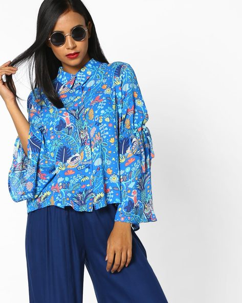 Printed Shirt With Bell Sleeves By AJIO ( Blue )