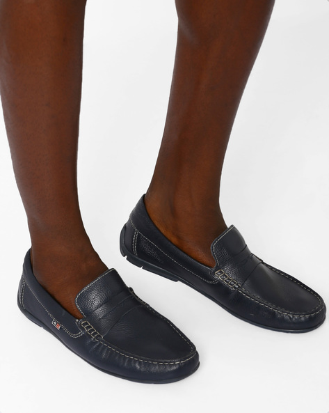 Leather Penny Loafers By ARROW ( Navy )