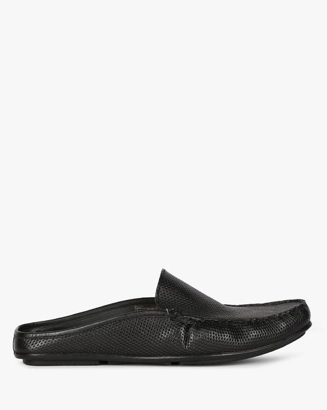 Genuine Leather Perforated Slip-Ons By ALBERTO TORRESI ( Black )