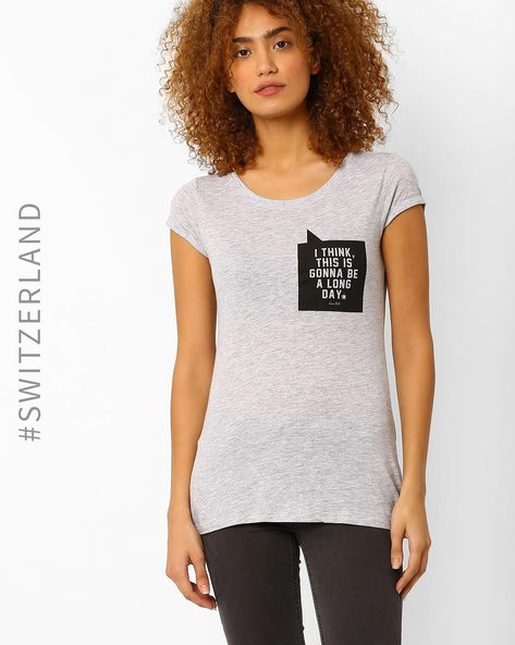 Graphic Print Crew-Neck T-shirt By TALLY WEiJL ( Grey )