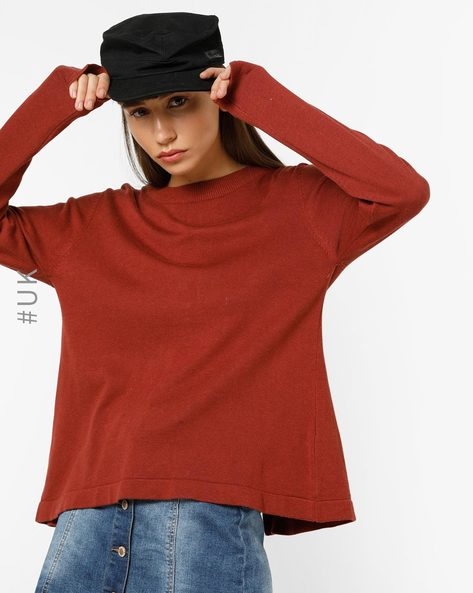 Crew-Neck Top With Back Tie-Ups By BRAVE SOUL ( Red )