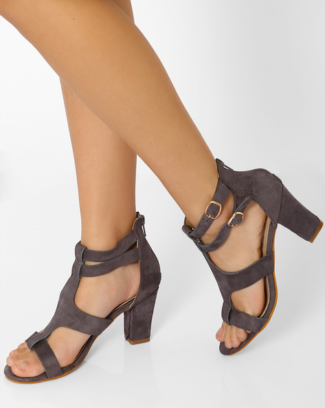 Sandals With Chunky Heels By MFT Couture ( Grey )